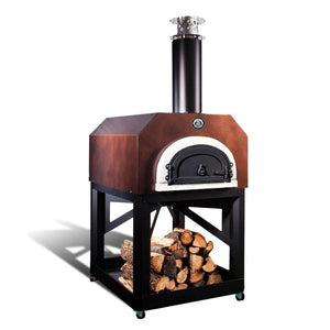 Chicago Brick Oven Mobile CBO 750 Freestanding Wood Fired Pizza Oven in Copper Vein with Door Closed Left Side View