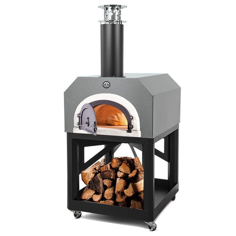 Image of Chicago Brick Oven Mobile CBO 750 Freestanding Wood Fired Pizza Oven in Silver Vein CBO-O-MBL-750-SV with Door Open Cooking Bread