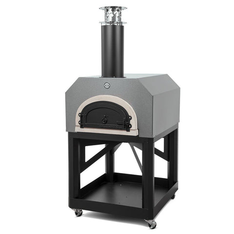 Image of Chicago Brick Oven Mobile CBO 750 Freestanding Wood Fired Pizza Oven in Silver Vein with Door Closed Right Side View