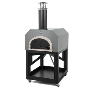 Chicago Brick Oven Mobile CBO 750 Freestanding Wood Fired Pizza Oven in Silver Vein with Door Closed Right Side View