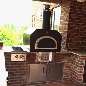 Chicago Brick Oven CBO 750 Hybrid Countertop Gas and Wood Fired Pizza Oven in Copper Vein in Custom Brick Outdoor Kitchen at Residential Home Back Porch