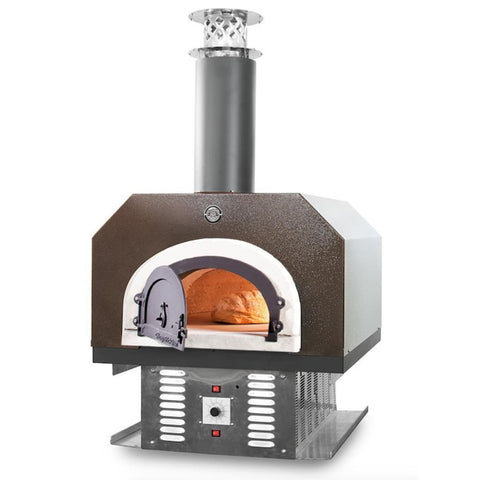Chicago Brick Oven CBO 750 Hybrid Countertop Gas and Wood Fired Pizza Oven in Copper Vein with Door Open Cooking Bread