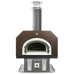 Chicago Brick Oven CBO 750 Hybrid Countertop Gas and Wood Fired Pizza Oven in Copper Vein with Door Open Close Up View