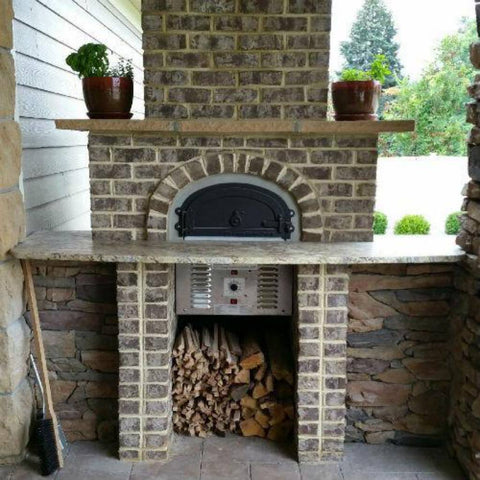 Chicago Brick Oven CBO 750 Hybrid Gas and Wood Fired Pizza Oven DIY Kit Custom Brick Back Porch of Home Installation