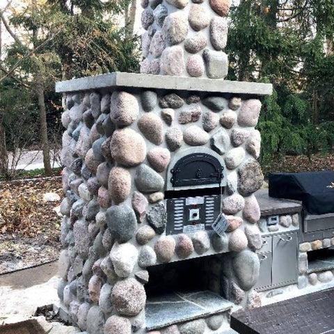 Chicago Brick Oven CBO 750 Hybrid Gas and Wood Fired Pizza Oven DIY Kit Custom River Rock Home Outdoor Kitchen Installation with Grill and Fireplace