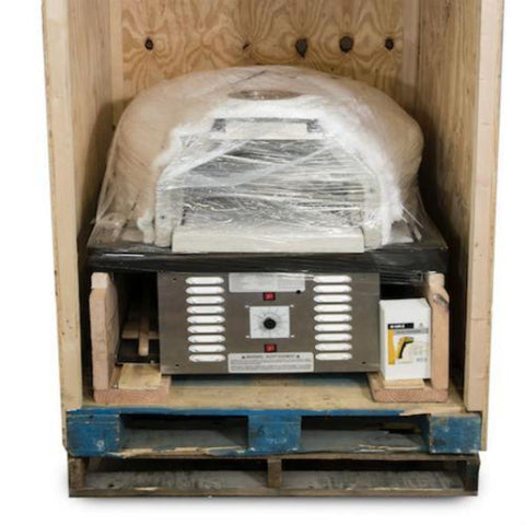 Chicago Brick Oven CBO 750 Hybrid Gas and Wood Fired Pizza Oven DIY Kit Packaged in the Crate it Will be Delivered In