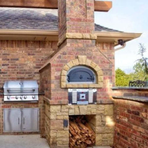 Chicago Brick Oven CBO 750 Hybrid Gas and Wood Fired Pizza Oven DIY Kit Installed in Custom Built Brick Outdoor Kitchen with Grill