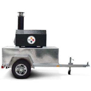 Chicago Brick Oven CBO 750 Commercial Wood Fired Pizza Oven Trailer in Black Solar with Logo Side View