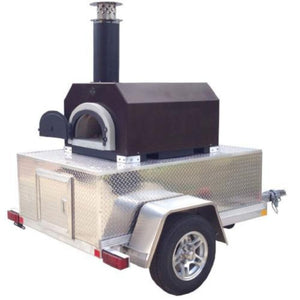Chicago Brick Oven CBO 750 Commercial Wood Fired Pizza Oven Trailer in Copper Vein Right Side View with Oven Door Open