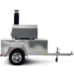 Chicago Brick Oven CBO 750 Commercial Wood Fired Pizza Oven Trailer in Silver Vein Side View