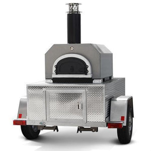 Chicago Brick Oven CBO 750 Commercial Wood Fired Pizza Oven Trailer in Silver Vein Front View