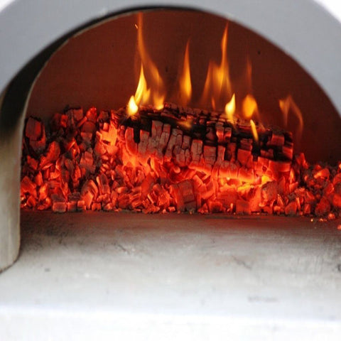 Chicago Brick Oven Hybrid Stand CBO 750 Freestanding Gas and Wood Fired Pizza Oven with Fire Inside Oven and Wood Embers
