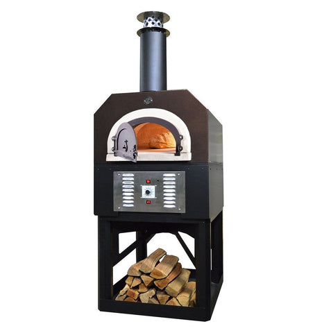 Chicago Brick Oven Hybrid Stand CBO 750 Freestanding Gas and Wood Fired Pizza Oven in Copper Vein with Door Open Cooking Bread