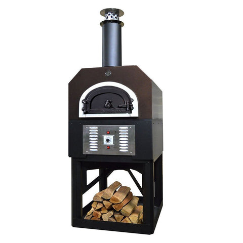 Chicago Brick Oven Hybrid Stand CBO 750 Freestanding Gas and Wood Fired Pizza Oven in Copper Vein with Door Closed