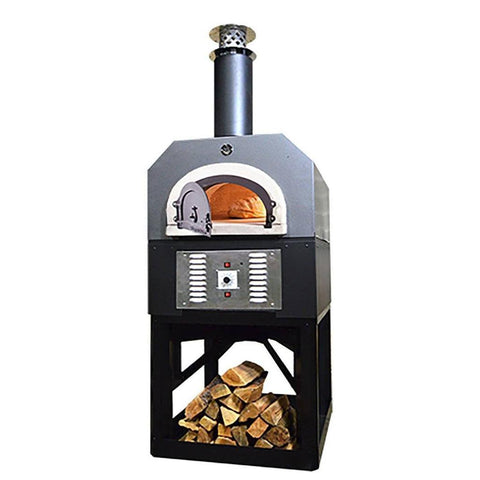Chicago Brick Oven Hybrid Stand CBO 750 Freestanding Gas and Wood Fired Pizza Oven in Silver Vein with Door Open and Cooking Bread