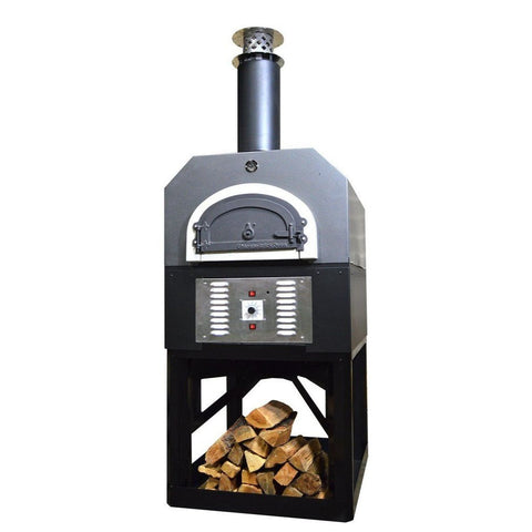 Chicago Brick Oven Hybrid Stand CBO 750 Freestanding Gas and Wood Fired Pizza Oven in Silver Vein with Door Closed