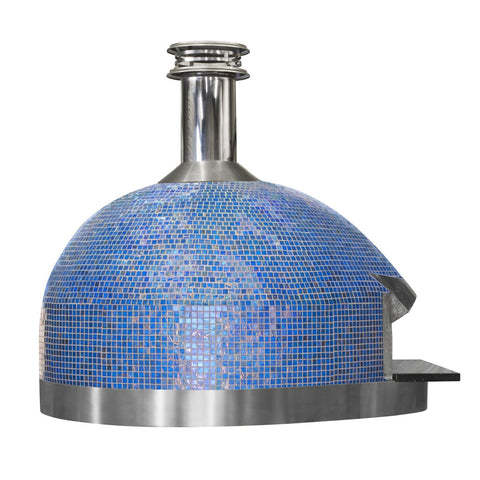 Forno Piombo Palazzo Azure Tile Built-In or Countertop Wood Fired Pizza Oven