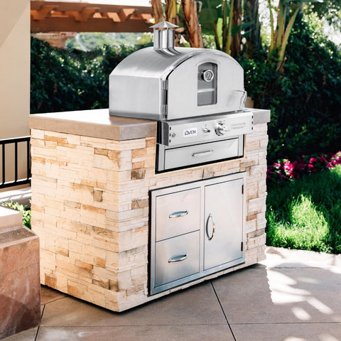 Summerset Built-In or Countertop Outdoor Gas Pizza Oven on Outdoor Patio Built In to Custom Base