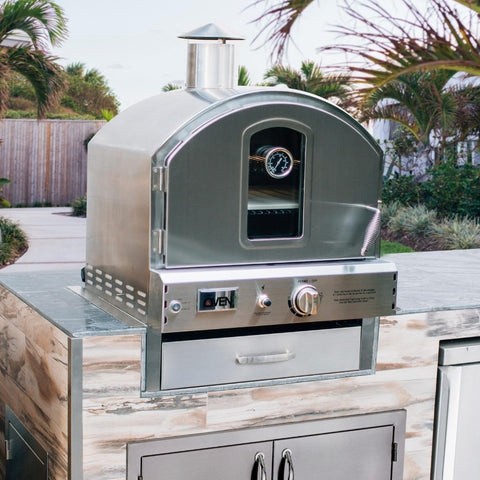 Summerset Countertop Outdoor Gas Pizza Oven Built In to Outdoor Kitchen with Required Flange Kit in Backyard
