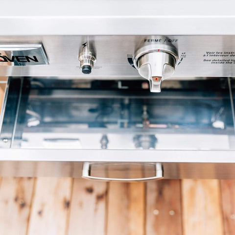 Image of Summerset Built-In or Countertop Outdoor Gas Pizza Oven Control Panel and Drawer Open Close Up View