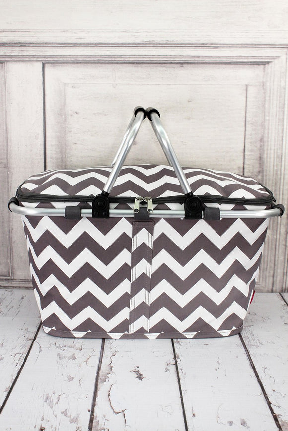 Chevron-Insulated Market Basket with Lid-Gray