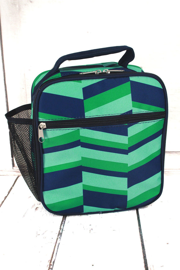 Geo Stripes-Lunch Bag-Navy/Green