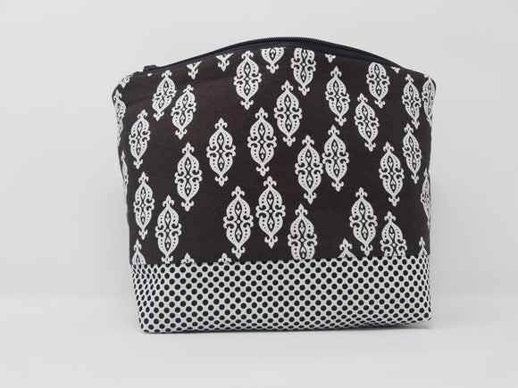 Jessie Collection-Make Up Bag-Brown/Damask