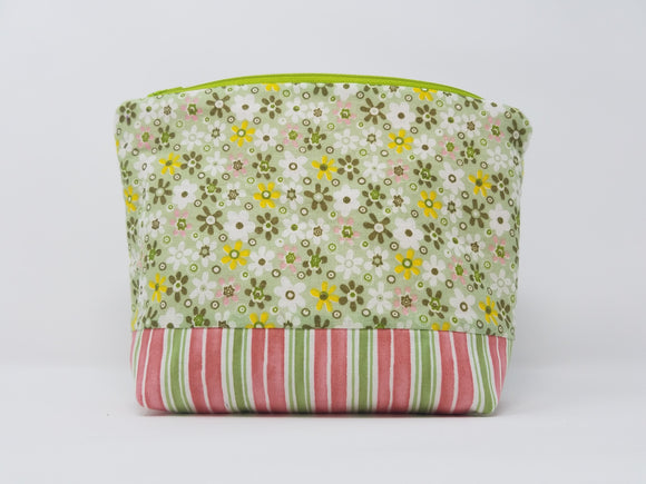 Harley Collection-Make Up Bag-Green/Floral/Stripe