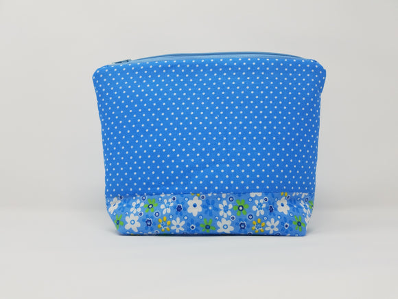 Savannah Collection-Make Up Bag-Sky/Polka Dots
