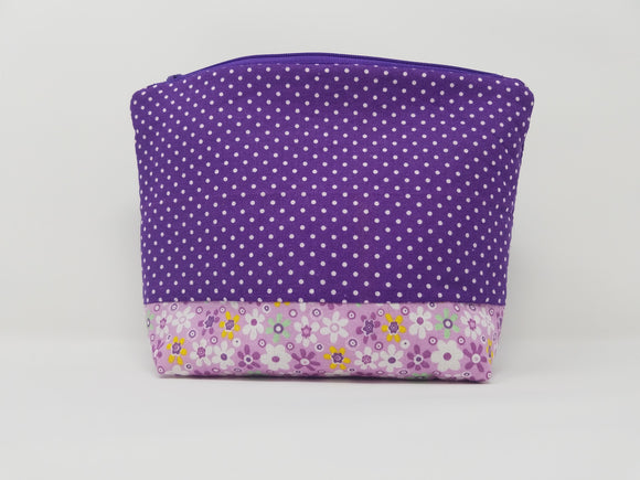 Savannah Collection-Make Up Bag-Violet/Polka Dot