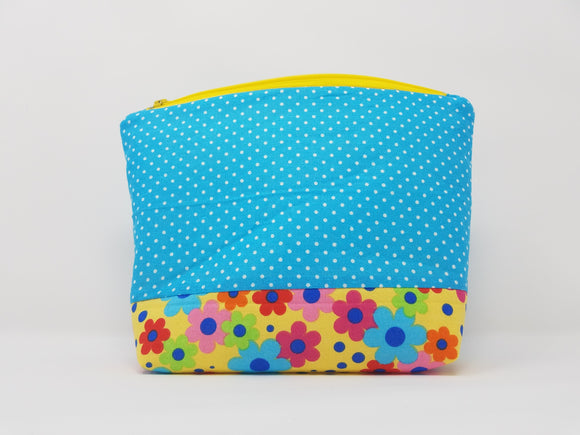 Zoey Collection-Make Up Bag-Blue/Polka Dots