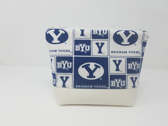 BYU Collection-Make Up Bag-Blue/White