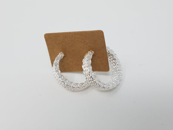 Woven Silver Hoops Earrings