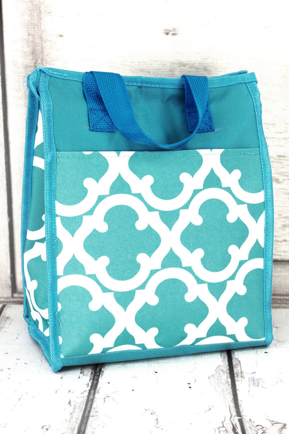 Quatrefoil-Lunch Bag-Aqua