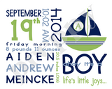 On the Day You Were Born- Boy Sailboats