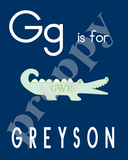 Alphabet Soup Personalized Prints-Boys  F G H I J