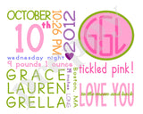 On The Day You Were Born - Girl Monogram