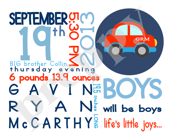 On The Day You Were Born-Boy Car