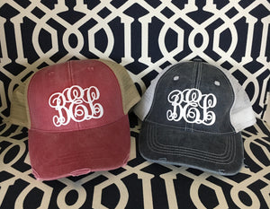 Monogram distressed trucker hat