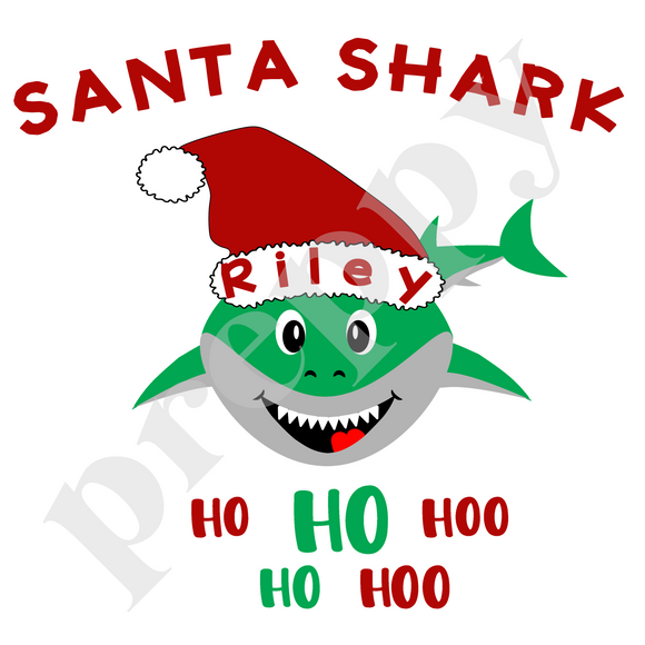 Personalized Santa Shark Shirts
