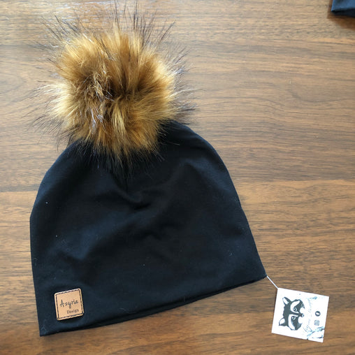 Azyria Design - Tuque printemps - Noir pompom roux