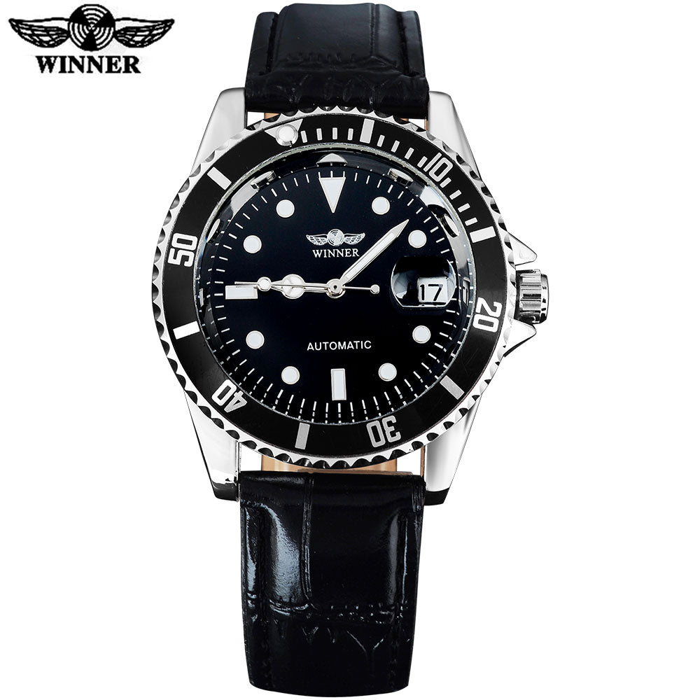 2016 WINNER popular brand men luxury automatic self wind watches creative case black dial transparent glass leather band