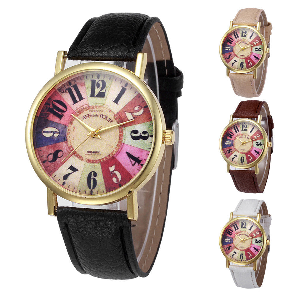 Brand New Watch Luxury Bracelet Watches Retro Design Leather Band Analog Alloy Quartz Wrist Watch Turntable montre femme