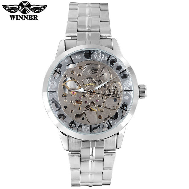 Winner Men's mechanical Watches Fashion Business Automatic Analog Dress Stainless Steel Bracelet Brand Wristwatch Color silver