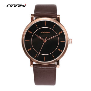 Ultra Thin Fashion Casual Quartz Watch Men Unisex Business Leather strap Rose Gold Wristwatch Simple Design relojes 2017