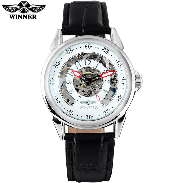 WINNER fashion sports men mechanical watches casual brand men's military skeleton watches leather strap wristwatches relogio
