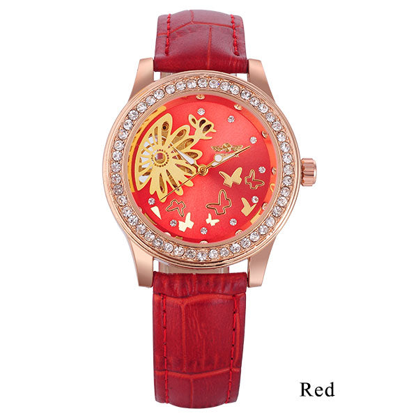 2016 WINNER mechanical hand wind women watches lady fashion casual rhinestone skeleton dial analog wristwatches leather strap