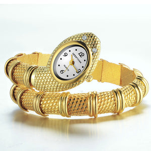 GEEKTHINK Unique Fashion Brand Quartz Watch Bracelet Women Ladies Snake Dress Watch Bangle Diamond Ornaments Luxury Silver Gold