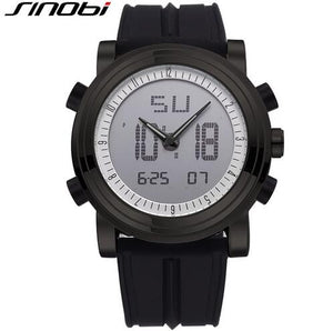 SINOBI Chronograph Men's Sports Watches Digital Quartz Dual time display Waterproof Top Luxury Brand Males Clock rubber band
