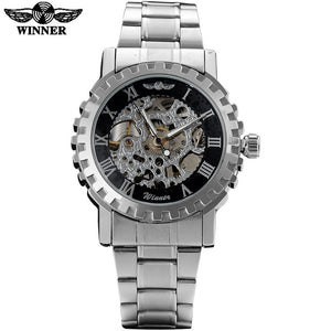WINNER fashion brand men sport mechanical watches men's military skeleton watches male wristwatches steel band relogio masculino
